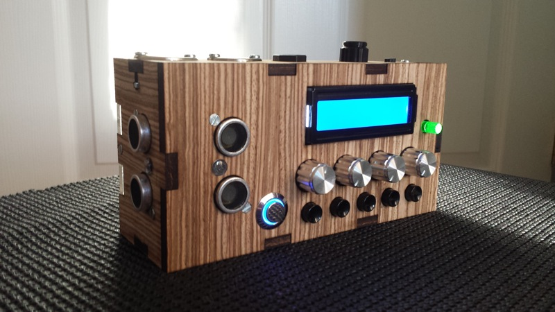Side shot of assmebled Kit with Zebrawood veneer option.